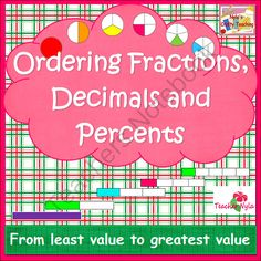 Ordering Fractions Decimals and Percents from NylasCraftyTeaching on TeachersNotebook.com (4 pages)  - Ordering #Fractions Decimals and Percents #math