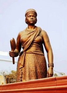 """Scholar John Henrik Clarke called Nzingha (or Anna Nzingha) the """"greatest military strategist that ever confronted the armed forces of Portugal."""" As queen of precolonial Angola, she sought to end the Portuguese capture and enslavement of African people, sending ambassadors and other representatives throughout West and Central Africa in an attempt to build a massive coalition of Africans to eject the Portuguese. Born c. 1582-1663."""