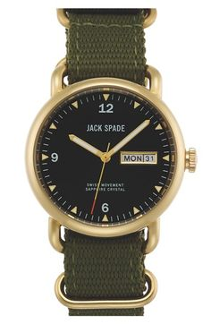 Free shipping and returns on Jack Spade 'Conway' Nylon Strap Watch, 38mm at Nordstrom.com. A matte-finish watch case and woven nylon strap give a '70s-inspired vibe to a handsome watch boasting a day-and-date window on the smooth enamel dial.
