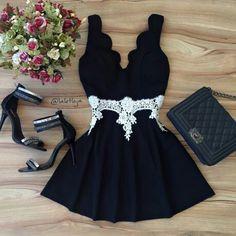 lindo*: Black Dress Outfits, Cute Casual Outfits, Pretty Outfits, Pretty Dresses, Beautiful Outfits, Casual Dresses, Short Dresses, Teen Fashion Outfits, Cute Fashion