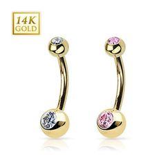 """Karat Gold Navel Belly Button Ring with Gem 6 mm Balls - 14GA 3/8"""" Long - Clear, Women's"""