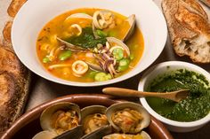 Shellfish minestrone with basil pesto.