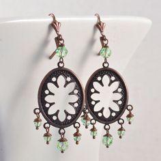 Antiqued Copper Earrings Oval Filigree Chandelier Earrings with Peridot Green Swarovski Crystal Earrings Filigree Earrings Handmade Earrings