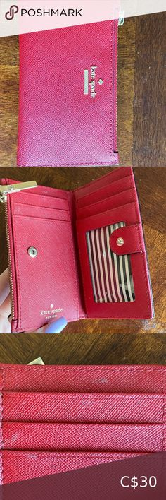 Red Kate Spade wallet Small red Kate Spade wallet. There is some dirt as shown in the picture. Other than that it is in perfect condition. It has barely been used. kate spade Bags Wallets Kate Spade Wallet Small, Large Wallet, Kate Spade Purse, Coin Wallet, Wristlet Wallet, Coin Purse, Kate Spade Card Holder, Tiffany Blue, Leather Wallet