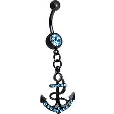 Aqua Gem Paved Black Anchor Dangle Belly Ring | Body Candy Body Jewelry #bodycandy #piercings #bellyring