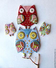 """Купить Декоративные подвесы """"Совиная семья"""" - разноцветный, сова, совушка, совушки, семья, Керамика"""