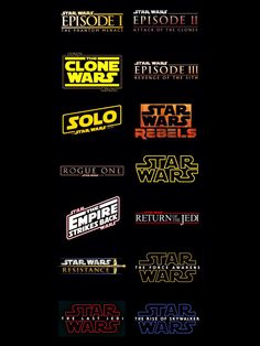 Star Wars Titles #StarWars #ThePhantomMenace #AttackOfTheClones #TheCloneWars #RevengeOfTheSith #Solo #RogueOne #Rebels #ANewHope #TheEmpireStrikesBack #ReturnOfTheJedi #Resistance #TheForceAwakens #TheLastJedi #TheRiseOfSkywalker #artist3121 Star Wars Rebels, Vader Star Wars, Star Trek, Darth Vader, Rogue One Star Wars, Star Wars Facts, Star Wars Humor, Clone Wars, Star Wars Canon