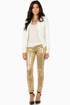 Make It Shine Sequin Leggings in Gold