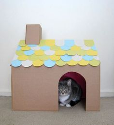 DIY Cardboard Cat House, From Fancy Seeing You.I Already Just Leave Boxes  Around For Her To Play In.why Not Make One Look Cute?