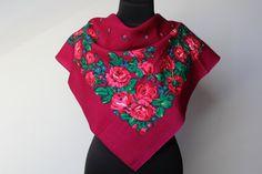 Vintage wool shawl.Russian Shawl.Wedding shawl.Floral scarf.Scarf.Vintage shawl.Burgundy Flower Shawl.Floral shawl.Russian scarf shawl.
