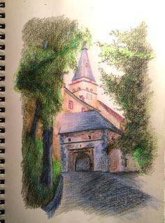 The drawing made with color pencils; Oravsky Podzamok (Slovakia)