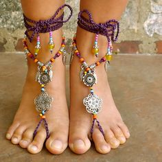 2 Flowers Purple  Barefoot Sandals BSPP2 by TheNewHippy on Etsy, $70.00  https://www.facebook.com/NewHippyUSA