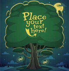 Cute cartoon trees vector background graphics 03