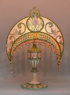 Christine Kilger's Nightshades are one-of-a-kind victorian lampshades with hand-beaded shades on period lighting fixtures and are designed and created with rare antique fabrics, appliqués and embellishments circa Deco Boheme, Aesthetic Room Decor, Decoration, Room Inspiration, Bedroom Decor, Antiques, Home Decor, Alphonse Mucha, Art Nouveau Bedroom