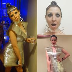DIY space alien themed costume. Foil insulation roll used for skirt and top. Glitter makeup.