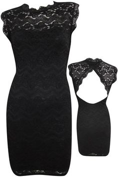 black lace and open back dress