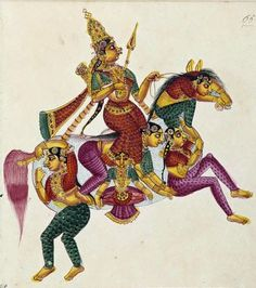 Rati, goddess of desire and wife of Kamadeva;  A horse composed of five women with its rider Ratheedavee the lady of Munmadah. Gouache on watermarked paper, Trichinopoly, ca. 1825, Victoria and Albert Museum, Rati, the shakti of Manmatha or Kama, the god of love, mounted on a horse composed of five women. From a series of 100 drawings of Hindu deities created in South India.