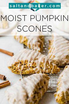 Fun Baking Recipes, Brunch Recipes, Cooking Recipes, Scone Recipes, Pumpkin Scones Starbucks, Pumkin Scones, Pumpkin Recipes, Fall Recipes, Healthy Scones