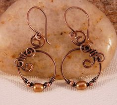Wire Wrapped Copper and Champagne Pearl Earrings by JayelleJewelry, $32.00