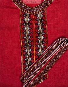 red linen Russian shirt