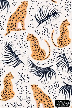 Fabric collection on Spoonflower. Summer paradise in tropical jungles with wild animals, beautiful girls, and fantastic florals by Lidiebug cat Cute Wallpaper Backgrounds, Cute Wallpapers, Cheetah Wallpaper, Painting Inspiration, Art Inspo, Foyer Wallpaper, Mural Art, Wall Collage, Illustration Art