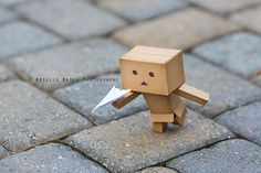 Danbo with a paper airplane Danbo, Miss Piggy, Cute Pictures, Cool Photos, Box Robot, Amazon Box, Smile Wallpaper, Flower Letters, Paper Plane