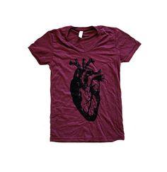 Herz-T-Shirt - anatomisches Herz Damen SOFT American Apparel Shirt - erhältlich in Grössen S, M, L, XL