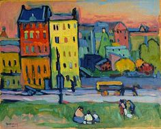 Wassily Kandinsky - Houses in Munich (70,0 x 50,0 cm)