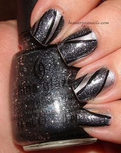 Granite Swirl Nail Art with China Glaze Tinsel Town and Icicle