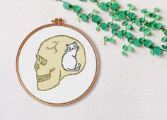 Skull Cat Cross Stitch Pattern / Printable PDF Pattern /