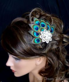 Peacock Hair Clip. Peacock Feathers bride-bridesmaids fascinator Hair Clip. Stunning , Bridal, Wedding, Bridesmaids.  - PIA -. $69.99, via Etsy.