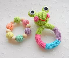 SALE Baby rattle Frog Baby toy SET of 2 Grasping and Teething Toys Pastel colors Frog Stuffed toys Gift for baby Girls Boys