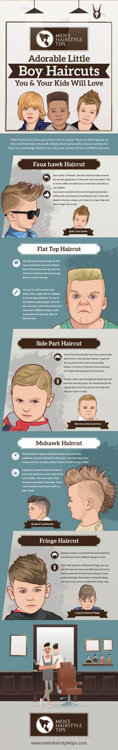 Infographics about Adorable Little Boy Haircuts You & Your kids Will Love Little boy haircuts have gone from cute to unique! Boys are full of spunk, so they need hairstyles that will embody their personality. Cute Toddler Boy Haircuts, Boy Haircuts Long, Cute Haircuts, Cool Hairstyles, Men's Hairstyle, Side Part Haircut, Flat Top Haircut, Low Fade Haircut, Long Hair On Top