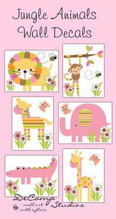 Mod Jungle Animals wall decals or 8x10 Wall art Prints for baby girl safari zoo nursery room decor. Includes six different animals; lion, monkey zebra, elephant, alligator, and giraffe #decampstudios