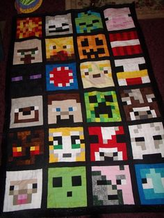 Minecraft quilt for John.  Each 8X8 square is made up of 64 two inch squares.