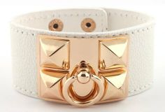 Ladies White with Gold Pyramid Style Adjustable Snap Bracelet JOTW. $4.95. The bracelet measures 8 inches from left to right and 1 inch from top to bottom.. Great Quality Designer Inspired Jewelry!. 100% Satisfaction Guaranteed!