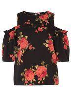 Womens Black Rose Floral Cold Shoulder Top- Black