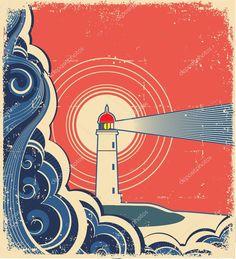 Маяк с синим морем.Векторный гранж фон для дизайна — стоковая иллюстрация #12086096