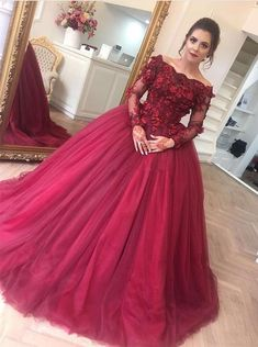 elegant off shoulder quinceanera dresses with long sleeves appliques, chic burgundy ball gowns M2894