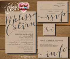 Printable Wedding Invitation Suite (w0227), consists of invitation, RSVP, monogram and info design in hand lettered typography theme. by TeeshaDerrick on Etsy https://www.etsy.com/listing/226160178/printable-wedding-invitation-suite-w0227