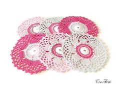 Crochet coasters Colorful Coasters Set of 6 by CreArtebyPatty