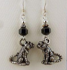 Pewter Tiger Earrings with Hematite gemstones, Auburn, LSU tigers