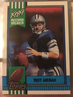 1990 Topps Record Breaker Troy Aikman 3 Cowboys Near Mint Combined s Amp H | eBay