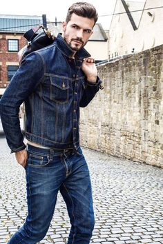 Rugged double denim combo with a denim jacket with blue jeans navy canvas bag. Nudie Jeans, Denim Jeans, Levis, Blue Jeans, Raw Denim, Mode Masculine, Mens Fashion Suits, Denim Fashion, Street Fashion