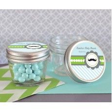 Little Man Party Small 4 oz Mason Jars from PartyFavorsAndStationery.com. #LittleMan