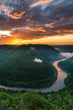 Sunrise at Grand View at the New River Gorge, West Virginia  (by Robert Clark) My home sweet home!