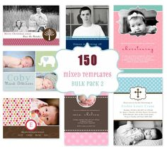 Commercial Use Package -150 Photo Card Templates. Bulk 2. Includes Birth Announcements, Christening, Birthday Invitations, Christmas Cards