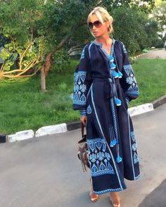 Embroidered midi dress is inspired by Vyshyvanka Vita Kin collection and ancient Ukrainian pattern. The linen dress with such rich embroidery has soul behind contemporary shapes. Folk Fashion, Fashion Prints, Embroidered Clothes, Mode Hijab, Embroidery Dress, College Outfits, Boho Dress, Ethnic Dress, Modest Fashion