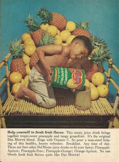 Del Monte Pineapple Grapefruit Juice Original 1961 Vintage Print Ad Color Photo of Adorable Little Boy in Bamboo Boat..