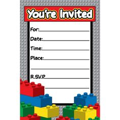 Free Printable Lego Invitations Teacher Appreciation Pinterest
